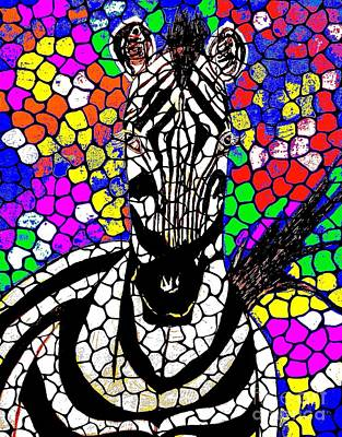 Painting - Zebra Mosaic Abstract 2 by Saundra Myles