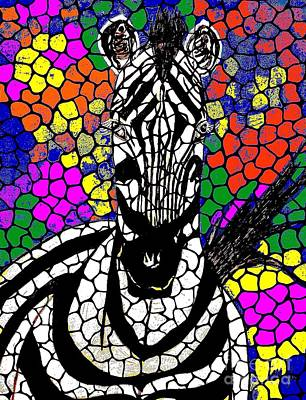 Painting - Zebra Mosaic Abstract by Saundra Myles