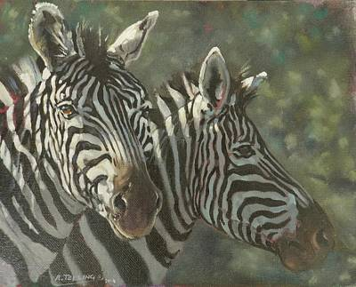 South Africa Zebra Painting - Zebra Pair by Robert Teeling