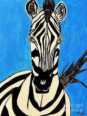 Painting - Zebra Portrait 5 by Saundra Myles