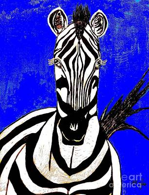 Painting - Zebra Portrait by Saundra Myles