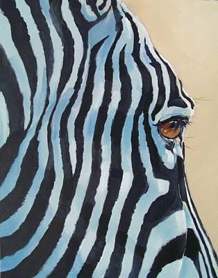 South Africa Zebra Painting - Zebra Profile by Robert Teeling