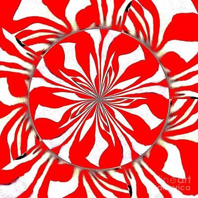 Painting - Zebra Red Swirling Kaleidoscope  by Saundra Myles