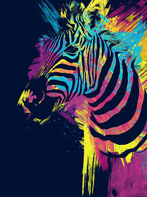 Vibrant Color Digital Art - Zebra Splatters by Olga Shvartsur