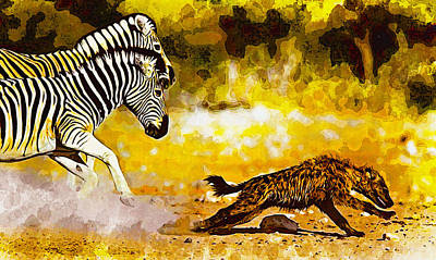 Meerkat Digital Art - Zebra Stallion Chasing Young Hyena by Don Kuing