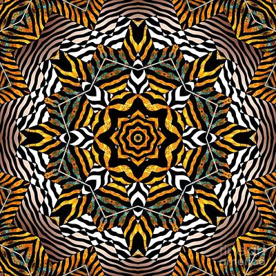 Contemporary Native Art Mixed Media - Zebra Star Mandala by Joseph J Stevens