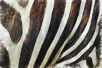 Fur Digital Art - Zebra Texture by Ayse Deniz