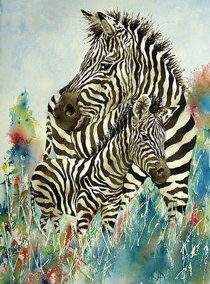 Newton Painting - Zebra With Colt by Sandra Stone