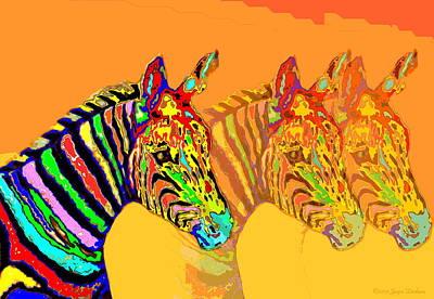 Friendly Digital Art - Zebra X3 by Joyce Dickens
