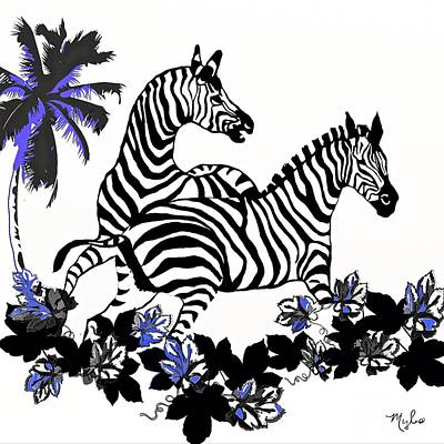 Painting - Zebras At Play by Saundra Myles
