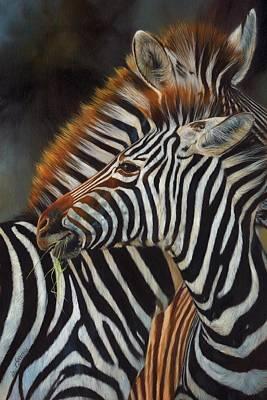 Zebra Painting - Zebras by David Stribbling