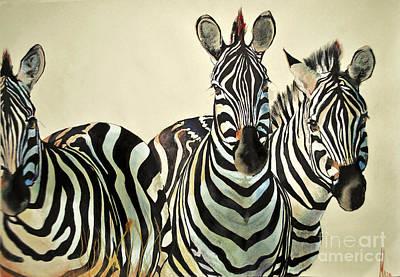 Art Print featuring the drawing Zebras Drawing by Maja Sokolowska