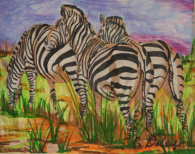 Painting - Zebras Grazing by Gail Daley