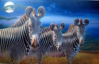 Painting - Zebras by Hans Droog