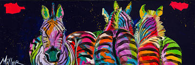 Zebra Painting - Zebras In A Row by Tracy Miller