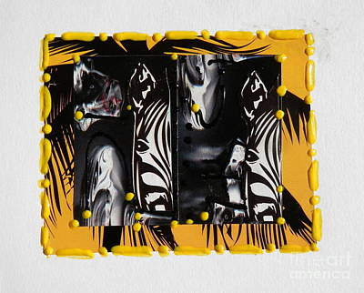 Mixed Media - Zebra's In Gold by L Cecka