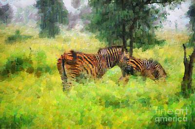 South Africa Zebra Painting - Zebras In Kruger Park Painting by George Fedin and Magomed Magomedagaev