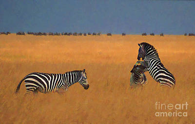 Zebra Digital Art - Zebras In Long Grass by Liz Leyden