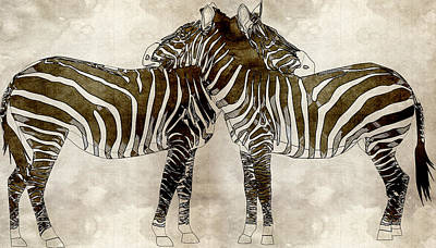Hippopotamus Painting - Zebras In Love by Asar Sudios