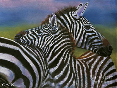 Zebra In Painting - Zebras In Love Giclee Print by William Cain