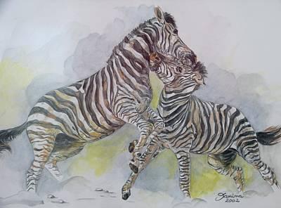 Zebra Painting - Zebras by Janina  Suuronen