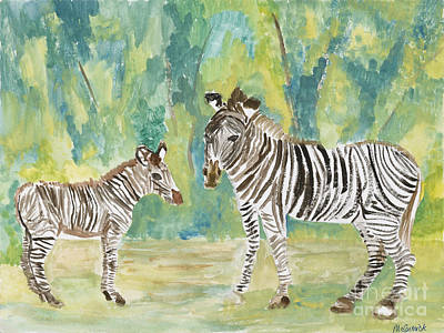 Painting - Zebras by Mary McCormick