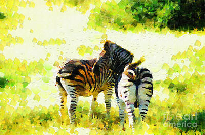 South Africa Zebra Painting - Zebras Painting by George Fedin and Magomed Magomedagaev