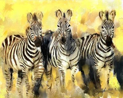 Painting - Zebras by Robert Smith
