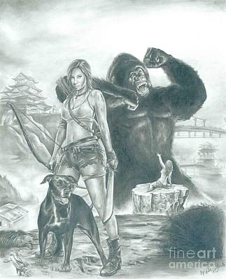 King Kong Drawing - Zeek Rider by Kobe Carter