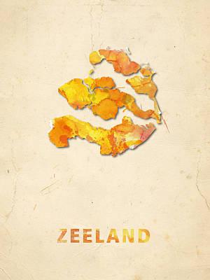 Zeeland Digital Art - Zeeland Watercolour Map by Big City Artwork