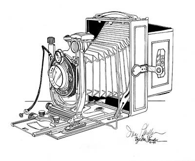 Vintage Camera Drawing - Zeiss-ikon by Ira Shander
