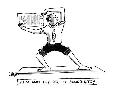 Book Title Drawing - Zen And The Art Of Bankruptcy by Warren Miller