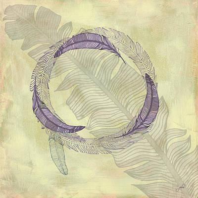 Cabin Interiors Digital Art - Zen Feather Circle I I I by Paulette B Wright