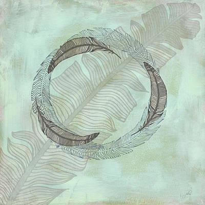 Cabin Interiors Digital Art - Zen Feather Circle I I by Paulette B Wright