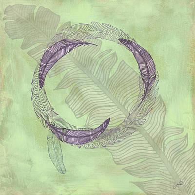Cabin Interiors Digital Art - Zen Feather Circle I V by Paulette B Wright