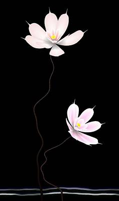 Abstract Flower Digital Art - Zen Flower Twins With A Black Background by GuoJun Pan