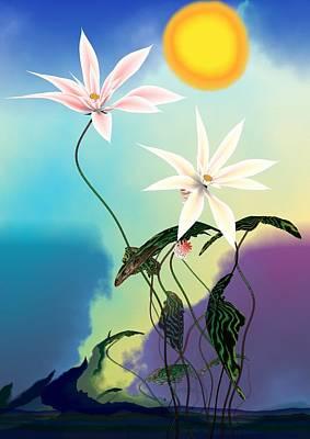 White Flowers Digital Art - Zen Flowers 3d by GuoJun Pan