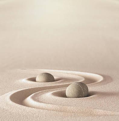 Round Rock Photograph - Zen Garden Meditation Stone by Dirk Ercken