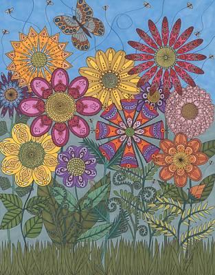 Folk Art Drawing - Zen Garden by Pamela Schiermeyer