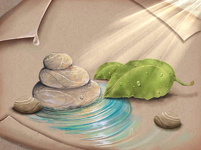 Digital Painting - Zen Garden by Veronica Minozzi