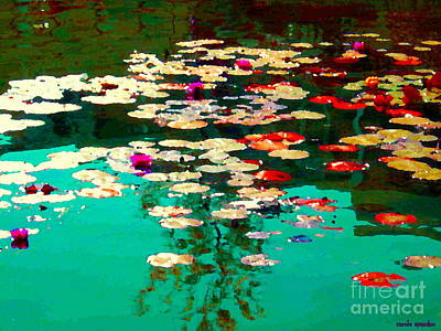 Painting - Zen Garden Water Lilies Pond Serenity And Beauty Lily Pads At The Lake Waterscene Art Carole Spandau by Carole Spandau