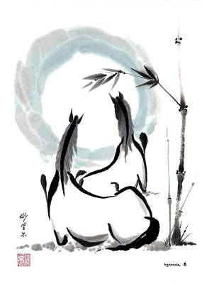 Zen Horses Into The Vortex Art Print