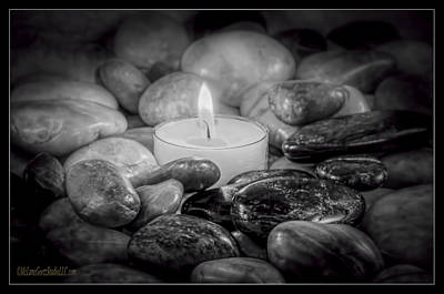 Zen Light Rock Black And White Art Print
