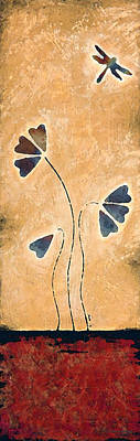 Zen Splendor - Dragonfly Art By Sharon Cummings. Print by Sharon Cummings