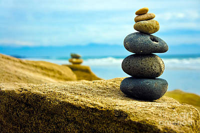 Stability Photograph - Zen Stone Stacked Together by Aged Pixel
