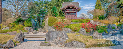 Zen Tranquility - Japanese Garden In Springtime - Panorama Art Print by Ian Monk