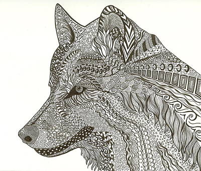 Drawing - Zen Wolf by Jennie  Richards