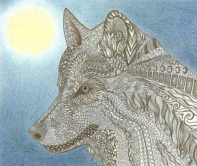 Drawing - Zen Wolf Moon by Jennie Richards