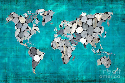 Map Of Australia Digital Art - Zen World Map by Delphimages Photo Creations
