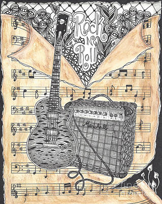Bass Player Drawing - Zentange Inspired Guitar by Dianne Ferrer